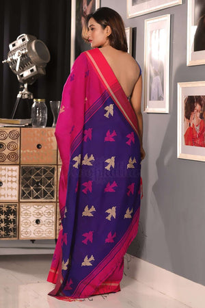 Fuchsia Blended Cotton Saree With Blue Pallu Akasha Roopkatha - A Story of Art
