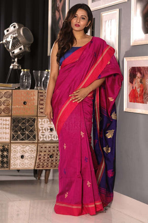 Fuchsia Blended Cotton Saree With Blue Pallu