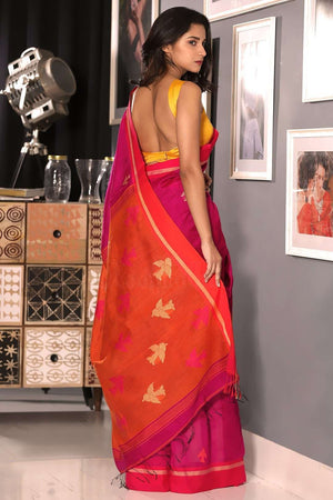 Fuchsia Blended Cotton Saree With Bird Motif