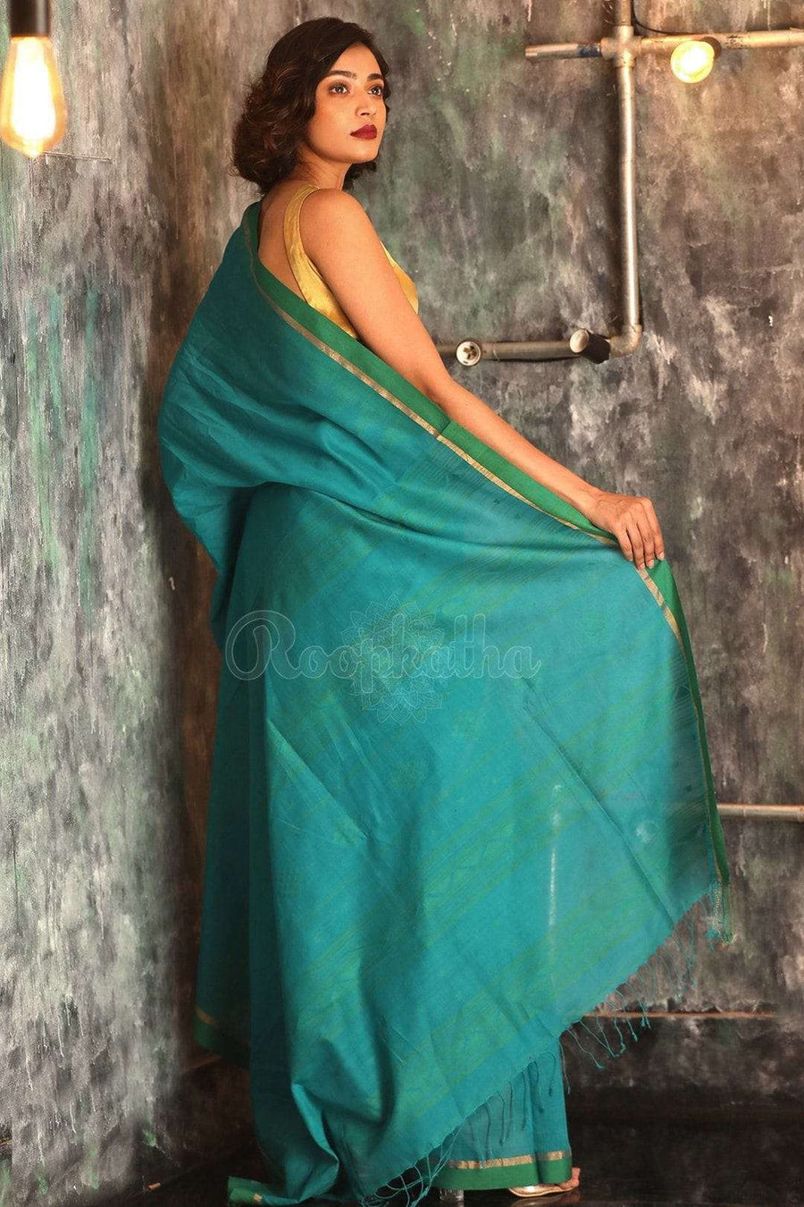 Blue Pure Cotton Saree With Plain Border