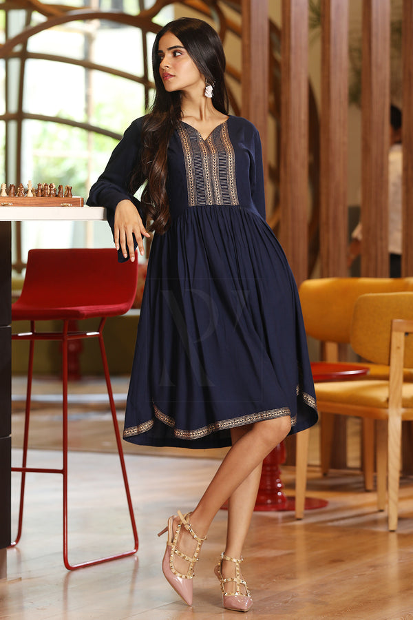 Navy Blue Moroccan Style Dress