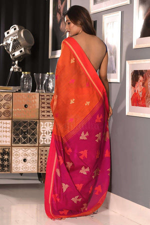 Orange Blended Cotton Saree With Woven Design Akasha Roopkatha - A Story of Art