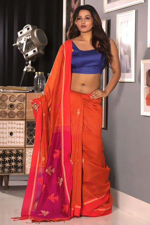 Orange Blended Cotton Saree With Woven Design