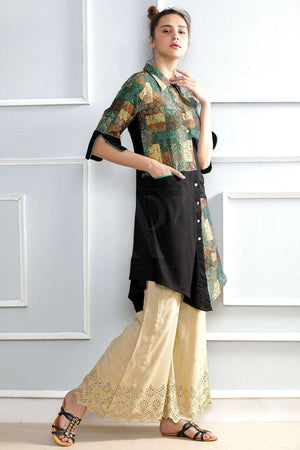 Black Collared Kurta With Print Patch