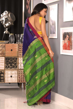 Indigo Blue Blended Cotton Saree With Green  Pallu