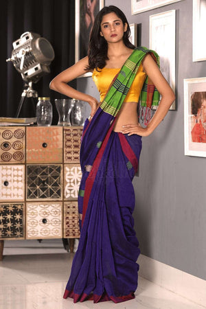 Indigo Blue Blended Cotton Saree With Green Pallu Akasha Roopkatha - A Story of Art