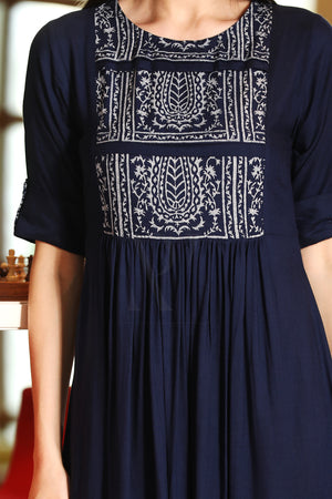 Blue Architectural Printed Yoke Tunic