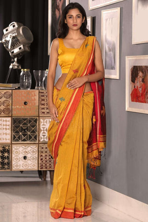 Golden Yellow Blended Cotton Saree With Red Border