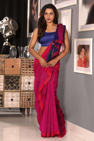 Pink Blended Cotton Saree With Blue Woven Pallu