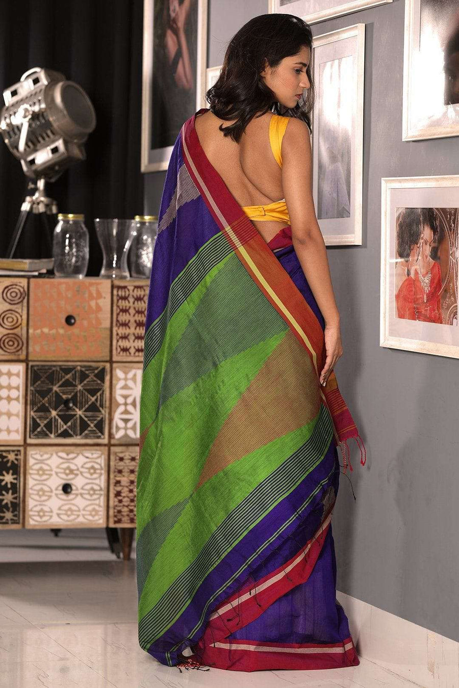 Indigo Blue  Blended Cotton Saree With Red Border