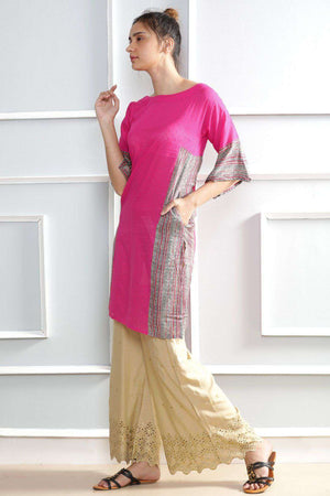Pink Kurta With Side Patch Rivka Roopkatha - A Story of Art
