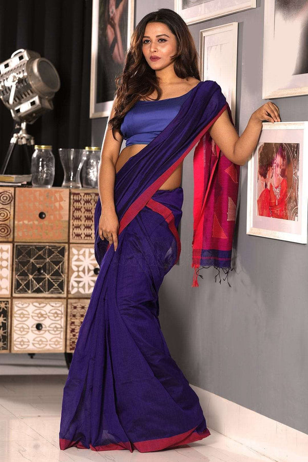 Blue Blended Cotton Saree With Pink Woven Pallu