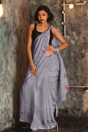 Grey Linen Saree With Geometric Weaving