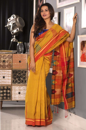 Yellow Ochre Blended Cotton Saree With Red Border