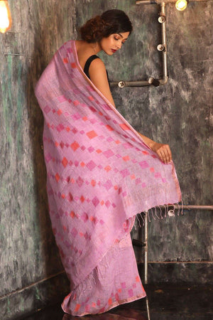 Pink Linen Saree With Jamdani Pallu