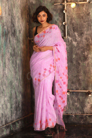 Pink Linen Saree With Zamdani Pallu