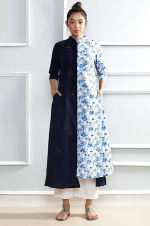 Blue Straight Kurta With Print