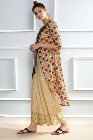 Brown Printed Layered Kurta