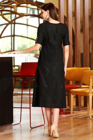 Black Dress With Ajrakh Print