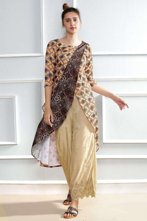 Brown Printed Layered Kurta Rivka Roopkatha - A Story of Art