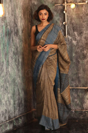 Brown Cotton Ghicha Saree With Blue Border