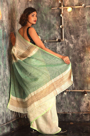 White Linen Saree With Green Pallu Earthen Collection Roopkatha - A Story of Art