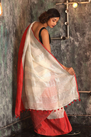 White Linen Saree With Red Border