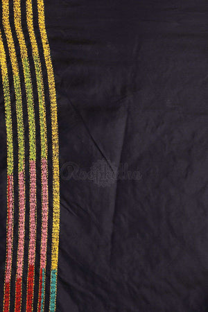 Black Bangalore Silk Saree With Kantha Work