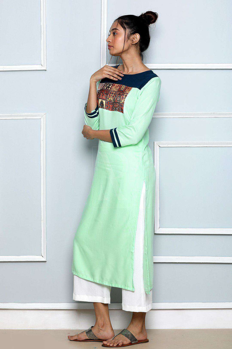 Candy Green Printed Patch Kurta