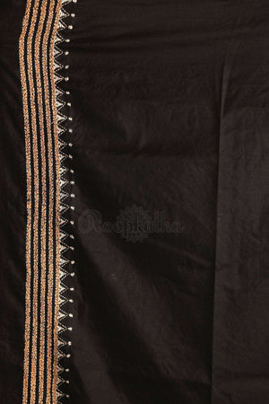 Black Bangalore Silk Saree With Kantha Work Kriti Classics Roopkatha - A Story of Art