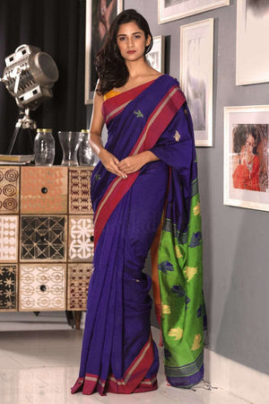 Indigo Blended Cotton Saree With Red Border