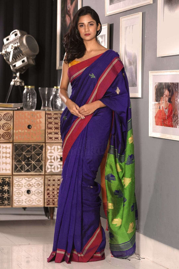 Indigo Blended Cotton Saree With Red Border Akasha Roopkatha - A Story of Art