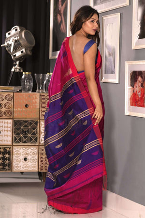Fushcia Blended Cotton Saree With Aubergine Woven Pallu