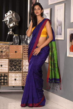 Indigo Blended Cotton Saree With Green Pallu Akasha Roopkatha - A Story of Art