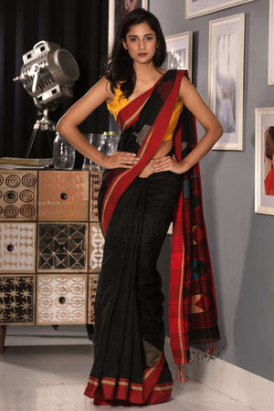 Ebony Black Blended Cotton Saree With Red Border