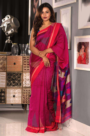 Hot Pink Textured Blended Cotton Saree With Crimson Border