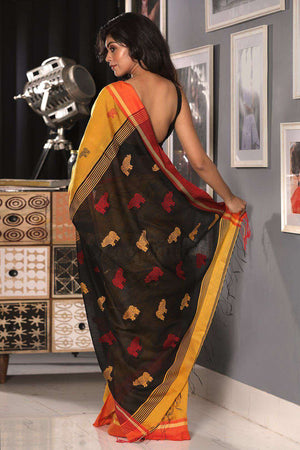 Merigold Yellow Blended Cotton Saree With Black Textured Pallu
