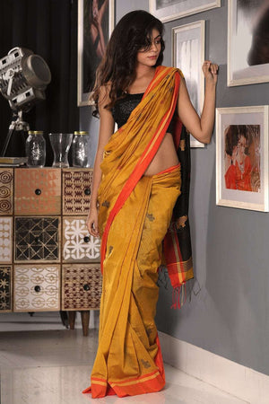 Merigold Yellow Blended Cotton Saree With Black Textured Pallu Akasha Roopkatha - A Story of Art