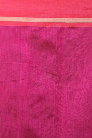 Indigo Cotton Saree With Hot Pink Woven Pallu