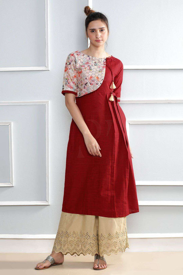 Red Kurta With Tussel
