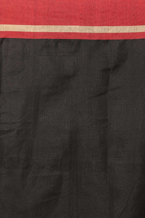 Crimson Cotton Blended Saree With Black Textured Pallu