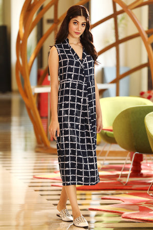 Navy Blue & White Checkered Dress