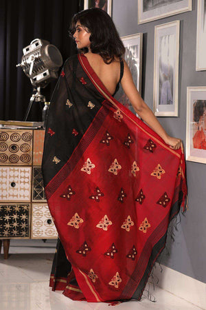 Black and Red Cotton Blended Saree With Butterfly Motif