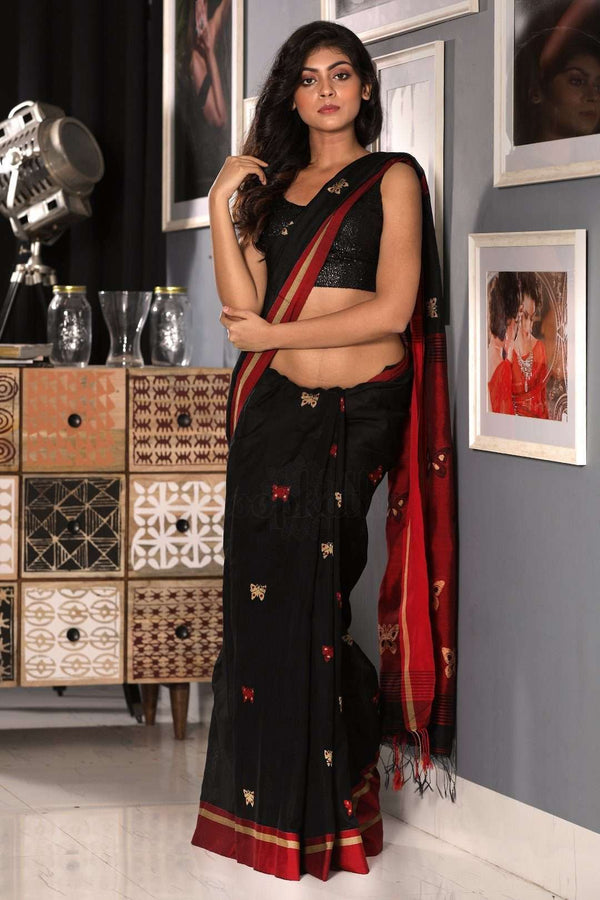 Black and Red Cotton Blended Saree With Butterfly Motif Akasha Roopkatha - A Story of Art