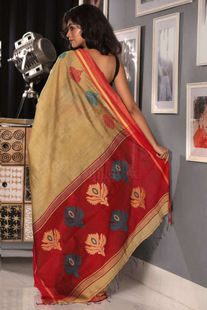 Tortilla Yellow Blended Cotton Saree With Red Textured Pallu