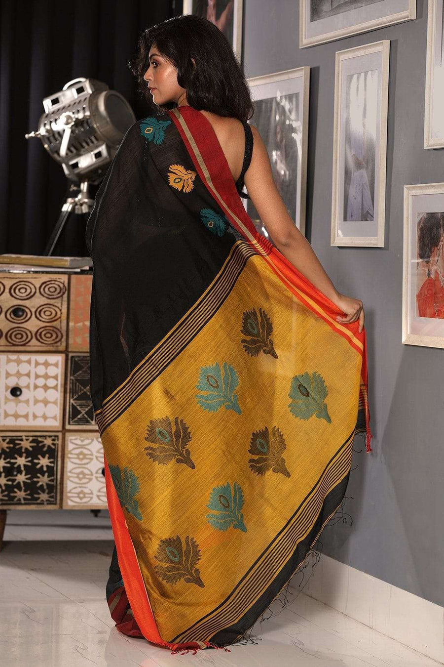 Black and Merigold Yellow Blended Cotton Saree With Flower Motif