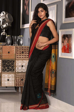 Black and Merigold Yellow Blended Cotton Saree With Flower Motif Akasha Roopkatha - A Story of Art