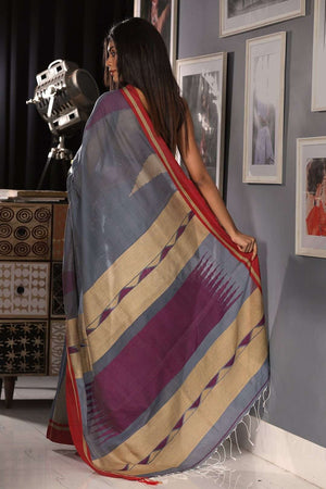 Cloud Grey Blended Cotton Saree With Red Border