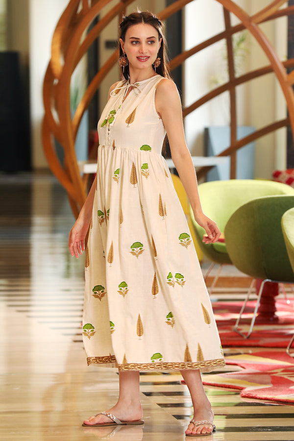Off-White Mughal Printed Sleeveless Dress