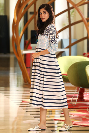 White Designed & Striped Dress